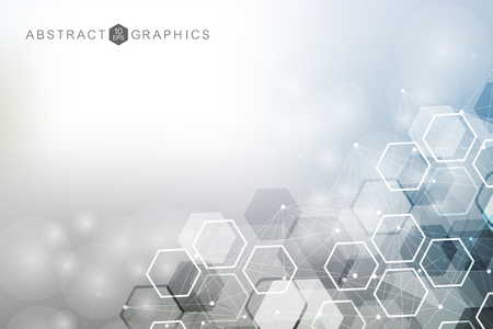 Illustration pour Geometric abstract background with connected line and dots. Structure molecule and communication. Big Data Visualization. Medical, technology, science background. Vector illustration - image libre de droit