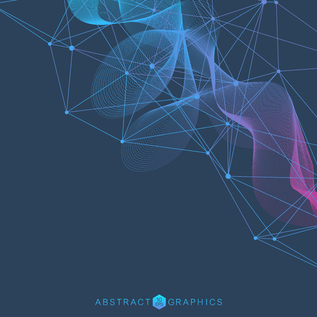 Illustration pour Geometric abstract background with connected line and dots. Structure molecule and communication. Scientific concept for your design. Medical, technology, science background. Vector illustration. - image libre de droit