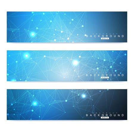 Illustration pour Scientific set of modern vector banners. DNA molecule structure with connected lines and dots. Scientific and technology concept. Wave flow graphic background for your design. Vector illustration - image libre de droit