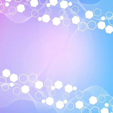 Illustration pour Science network pattern, connecting lines and dots. Technology hexagons structure or molecular connect elements. - image libre de droit
