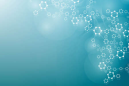 Photo for Modern futuristic background of the scientific hexagonal pattern. Virtual abstract background with particle, molecule structure for medical, technology, chemistry, science. Social network - Royalty Free Image