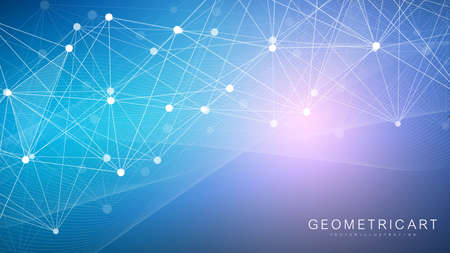 Illustration pour Geometric abstract background with connected line and dots. Structure molecule and communication. Big Data Visualization. Medical, technology, science background. Vector illustration. - image libre de droit