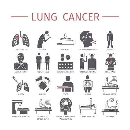 Ilustración de Lung Cancer. Symptoms, Causes, Treatment. Flat icons set. Vector signs for web graphics. - Imagen libre de derechos