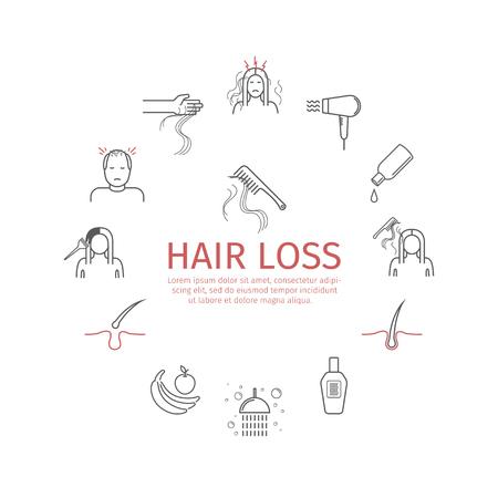 Illustration pour Hair Loss line icons set. Vector signs. - image libre de droit