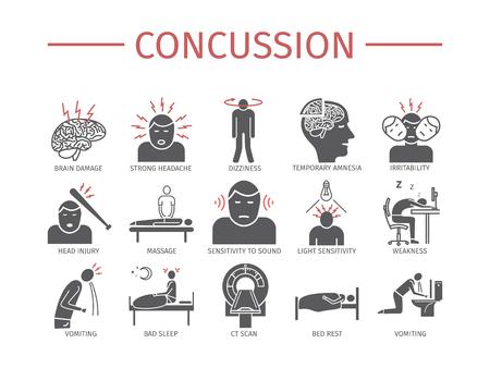 Illustration pour Concussion. Symptoms, Treatment. Flat icons set. Vector signs. - image libre de droit