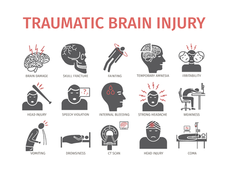 Illustration pour Traumatic brain injury flat icon. Head Injury Treatment. Vector signs for web graphics. - image libre de droit