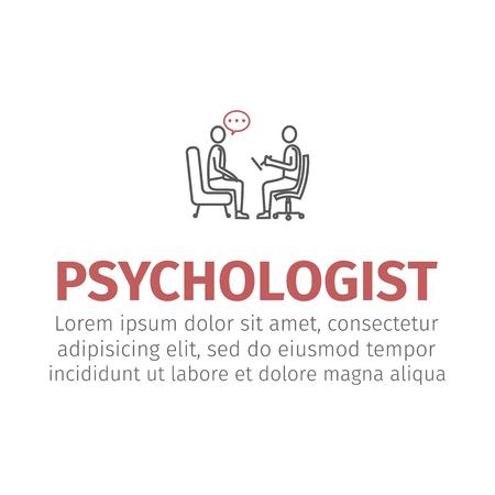 Illustration pour psychologist, consultant vector line icon, sign, illustration on background, editable strokes - image libre de droit