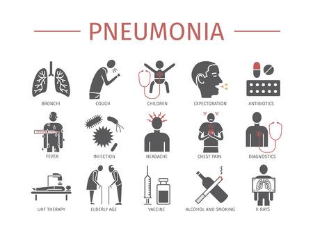 Illustration pour Pneumonia. Symptoms, Treatment. Flat icons set. Vector signs for web graphics - image libre de droit