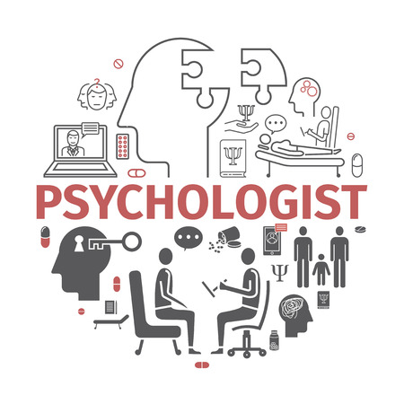 Illustration pour Psychologist line icons set. Conceptual infographics. Counseling psychology. Vector sign for web. - image libre de droit
