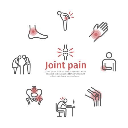 Illustration pour Joint pain. Flat icons set. Vector signs for web graphics. - image libre de droit