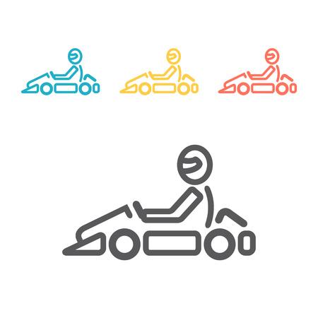 Ilustración de Vector line karting logo and symbol. Go kart label and badge. - Imagen libre de derechos