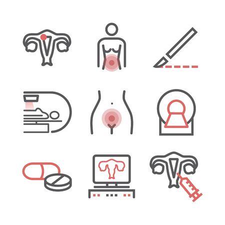 Illustration pour Cervical Cancer. Symptoms, Causes, Treatment. Line icons set. Vector signs for web graphics. - image libre de droit
