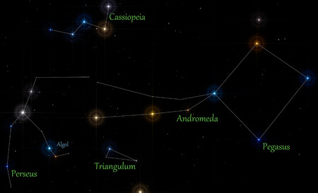Illustration of main constellations in autumn season with lines and labels