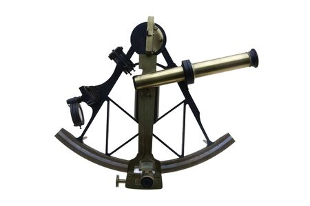 Photo pour ancient sextant used in old times to navigate, isolated on white - image libre de droit