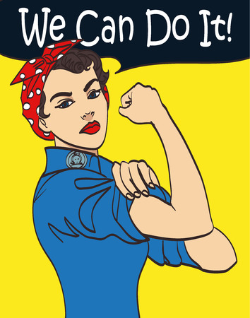 Illustration pour We Can Do It. Cool vector iconic woman's fist symbol of female power and industry. cartoon woman with can do attitude. - image libre de droit