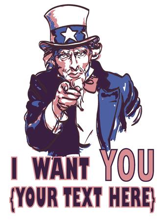 Illustration pour vector vintage patriotic poster with signature I want you and your text for your design. Eps 10. - image libre de droit