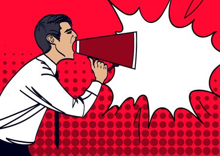 Illustration pour Pop Art Businessman Shouting in Megaphone. Vector illustration eps 10. - image libre de droit