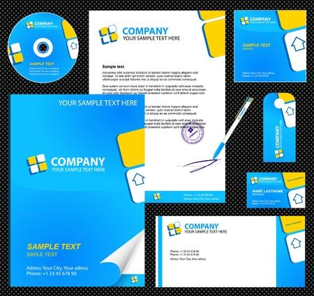 Ilustración de Business style  corporate identity  template 6  blue    blank, card, pen, cd, note-paper, envelope - Imagen libre de derechos