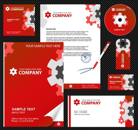 Business style, corporate identity template 7  red industrial    blank, card, pen, cd, note-paper, envelope