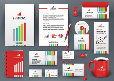Ilustración de Professional universal branding design kit with color lines. Corporate identity template, business stationery mock-up for investment company. Editable vector illustration: folder, cup, etc. - Imagen libre de derechos