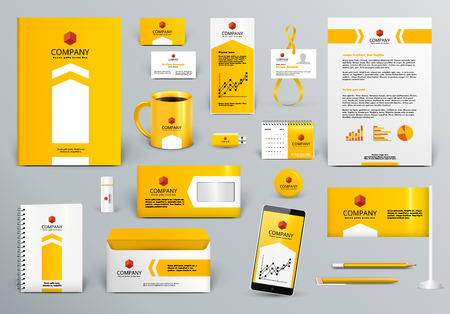 Illustration pour Professional yellow/orange branding design kit for real estate/investment. Premium corporate identity template. Business stationery mock-up. Editable vector illustration: folder, cup, etc. - image libre de droit