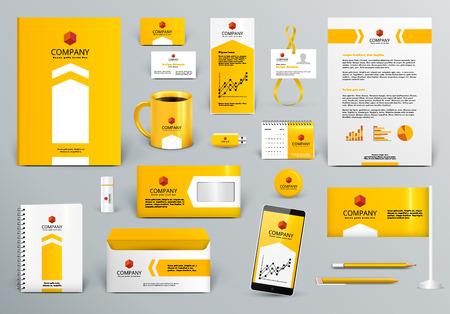 Ilustración de Professional yellow/orange branding design kit for real estate/investment. Premium corporate identity template. Business stationery mock-up. Editable vector illustration: folder, cup, etc. - Imagen libre de derechos