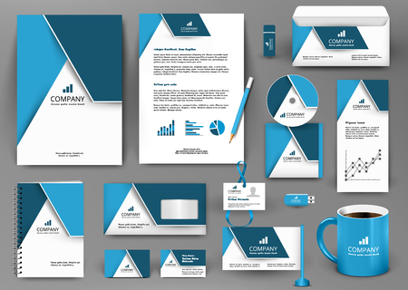 Ilustración de Professional blue universal branding design kit with origami element. Corporate identity template, business stationery mock-up for real estate company. Editable vector illustration: folder, mug, etc. - Imagen libre de derechos