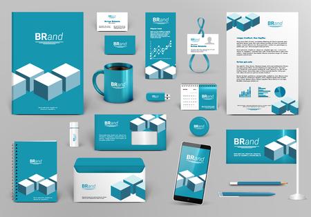 Illustration pour Professional blue branding design kit with bricks for real estate/investment. Corporate identity template. Business stationery mock-up. Editable vector illustration: folder, cup, etc. - image libre de droit