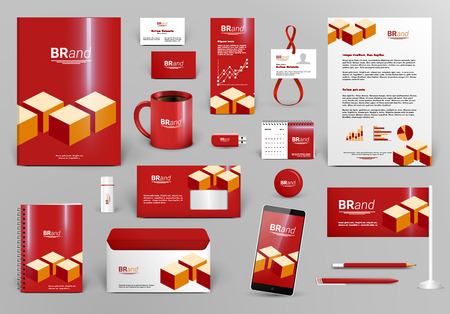 Illustration pour Red luxury branding design kit with cubes. Premium corporate identity template. Business stationery mock-up and documentation. Editable vector illustration: folder, envelope, cup, card, etc. - image libre de droit