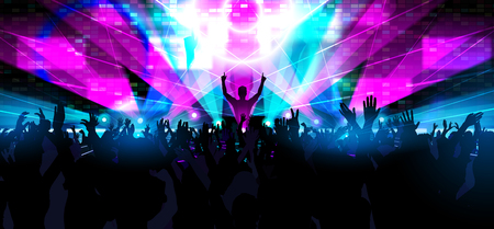 Illustration pour Electronic dance music festival with silhouettes of happy dancing people with raised up hands. - image libre de droit