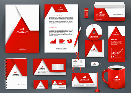 Illustration pour Professional universal red branding design kit with  origami element. Corporate  identity template, business stationery mock-up for real estate company. Editable vector illustration: folder, mug, etc. - image libre de droit