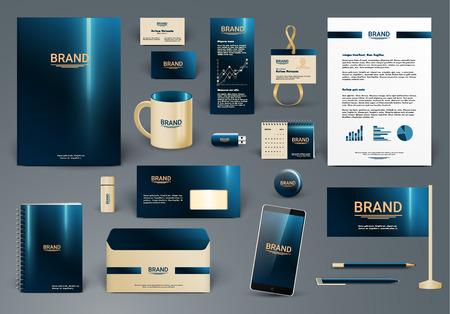 Ilustración de Corporate identity template. Branding design .  Letter envelope, card, catalog, pen, pencil, badge, paper cup, smartphone, letterhead, calendar - Imagen libre de derechos