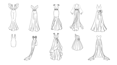 Illustration pour A set of different dresses. Modern and classic style. Dresses for prom, gala evening, wedding, masquerade, points. Coloring page for girls. - image libre de droit