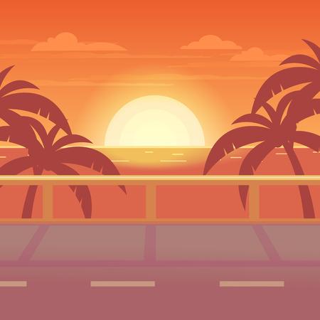 Illustration pour Tropical landscape. The road to the sea at sunset. - image libre de droit