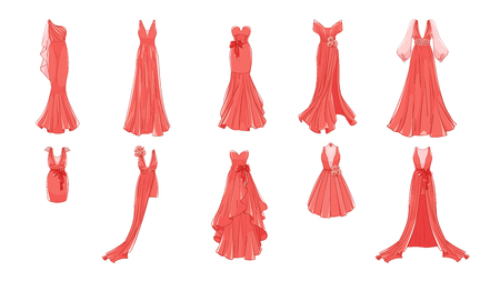 Illustration pour Set of different dresses. Modern and classic style. Dresses for prom, gala evening, wedding, masquerade, points. - image libre de droit