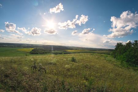 Photo pour Summer sunny landscape in the meadow for a fisheye - image libre de droit