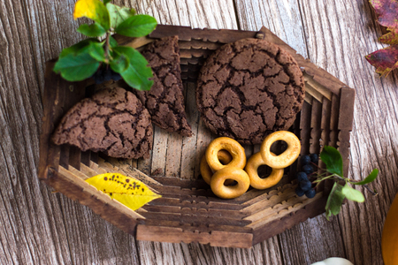 Homemade cakes food in a wooden platter