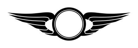 Sign template consisting of stylized wings and circles.
