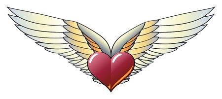 Winged Heart with Wide, Vivid and Colorful Wings