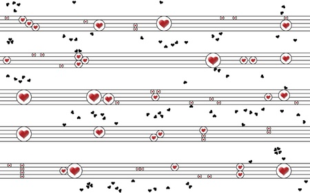 Cheerful Musical Composition  of Circles, Red and Black Hearts