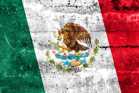 Mexico Flag painted on grunge wall