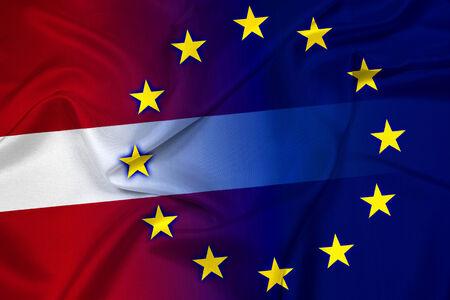 Waving Latvia and European Union Flag
