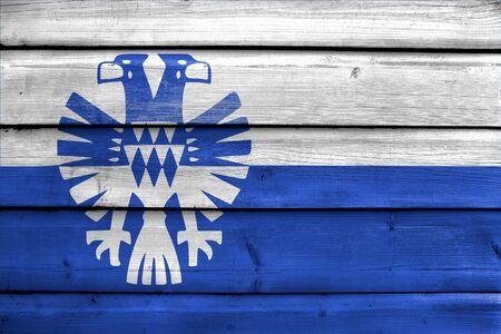 Flag of Arnhem, Netherlands, painted on old wood plank background