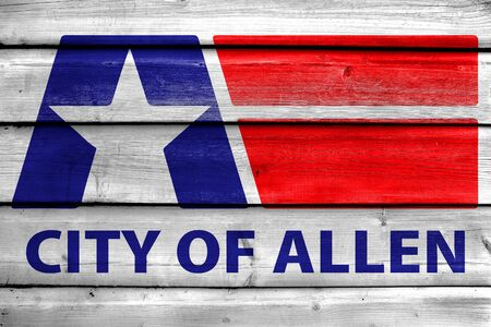Flag of Allen, Texas, USA, painted on old wood plank background