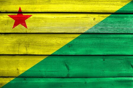 Flag of Acre State, Brazil, painted on old wood plank background