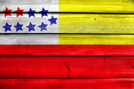 Flag of Chone, Ecuador, painted on old wood plank background
