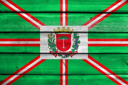Flag of Curitiba, Parana, Brazil, painted on old wood plank background