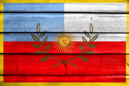 Flag of Catamarca Province, Argentina, painted on old wood plank background