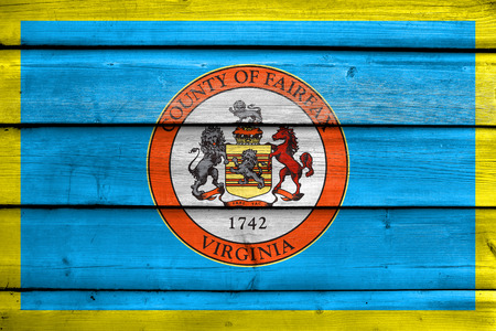Flag of Fairfax County, Virginia, USA, painted on old wood plank background
