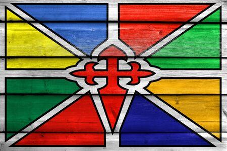 Flag of Merida, Venezuela, painted on old wood plank background
